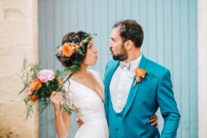 photo mariés colorée