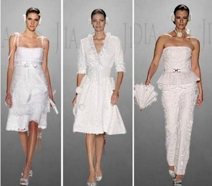 Trajes cortos o pantalón, ideales para bodas civiles