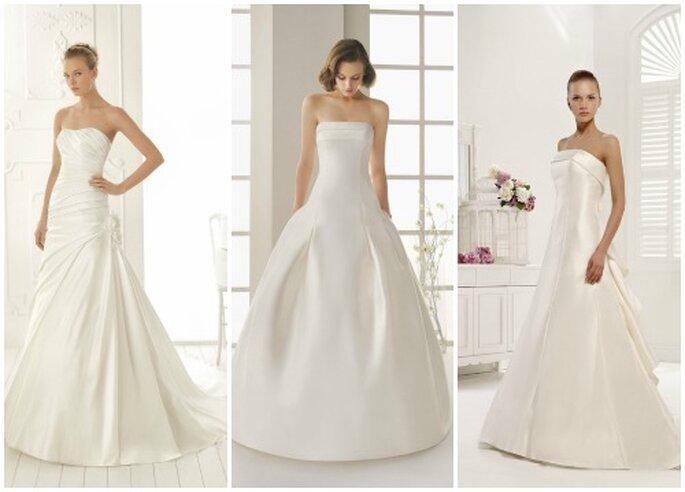 Trois robes de mariée bustier simples. De gauche à droite : Aire Barcelona Vintage, Rosa Clarà Two, Colet by Nicole Spose.