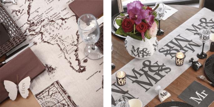 Rouleau de table globe et Rouleau de table Mr. et Mrs.