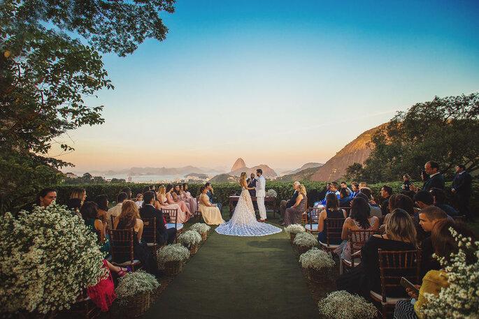 cerimonia de casamento com vista para o cristo redentor