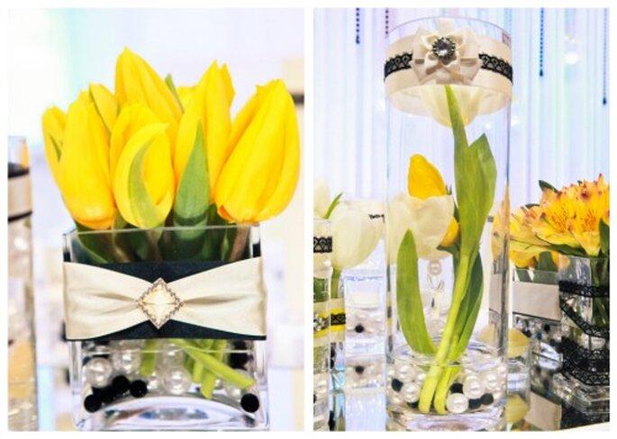 źółte dekoracje na weselu