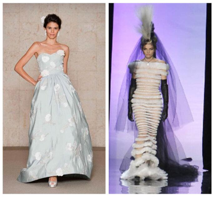 Robe de mariée bleue pâle Óscar de la Renta 2012. Version noir et blanc par Gaultier 2012