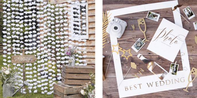 Rideau à fond floral et Accessoires photocall deluxe 8 pièces