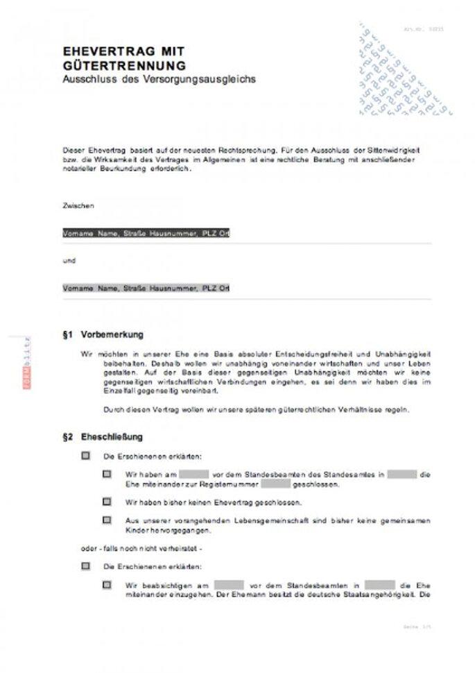 Muster Ehevertrag von formblitz.de