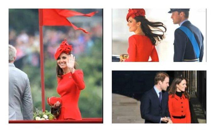 Kate al Giubileo di diamante della regina e in altre occasioni indossa abiti rossi