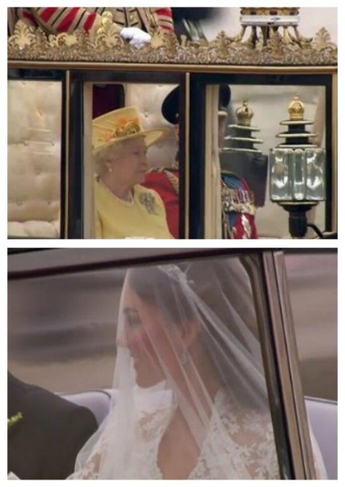 Arriba la reina Isabel II vestida de amarillo, abajo Kate Middlenton, ambas llegando a la ceremonia religiosa