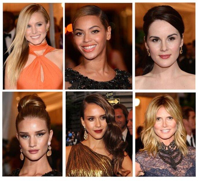 Kristen Bell, Beyonce, Michelle Dockery, Rosie Huntington-Whiteley, Jessica Alba y Heidi en la MET Gala 2012 - Foto Getty
