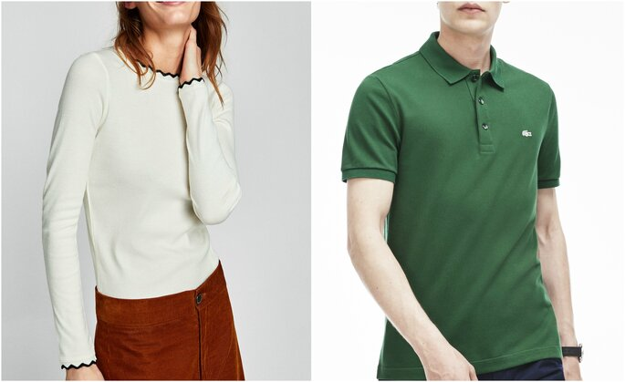 Foto: Camiseta Zara (ella) / Polo Lacoste (él)