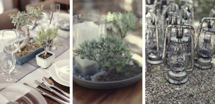 Los Bonsai como centro de mesa de boda para llevar. Vïa Southboundbride, foto de Picture Me & U