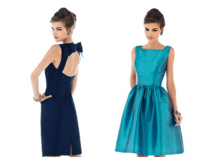 Vestidos para damas de boda en color azul marino y azul turquesa con faldas amplias y detalles de moño - Foto Dessy
