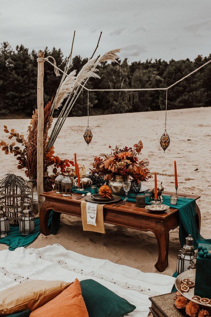 Tischdekoration Indischer Stil am Meer