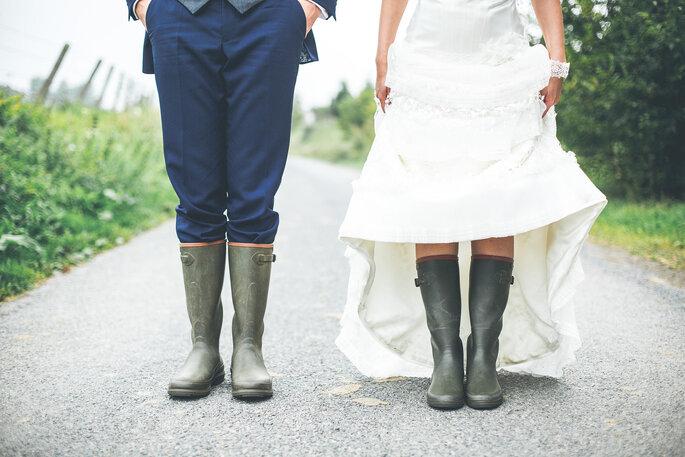 Mariés look automne bottes pluies