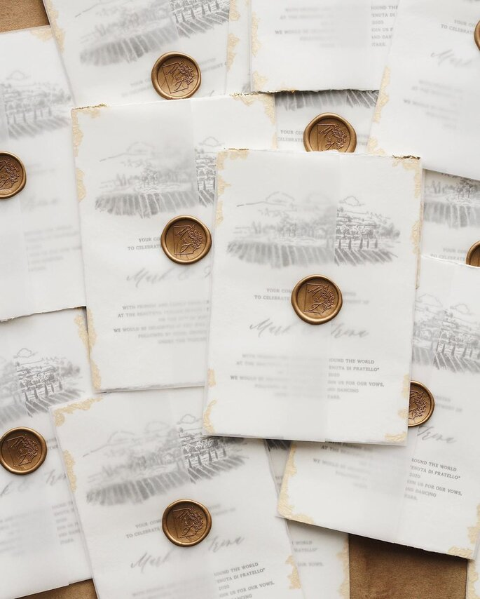 sobres para invitaciones de boda con sello y transparentes