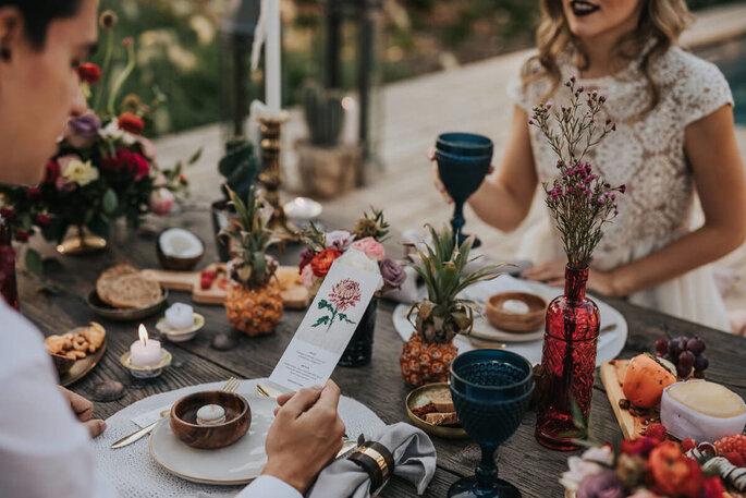 menu de casamento romântico