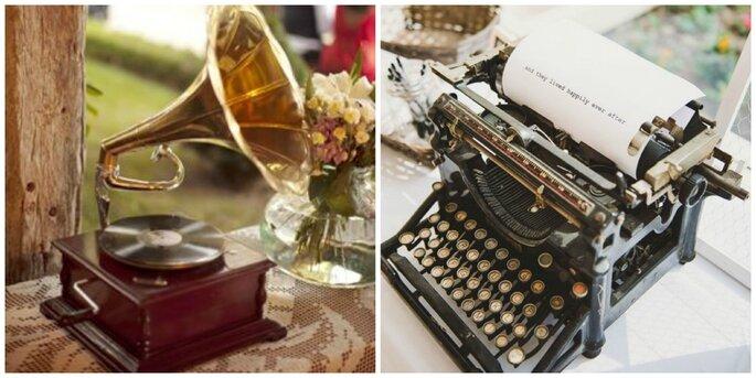 Photo :  phonographe : le trianon mariage - machine à écrire : Shelly Anderson photography