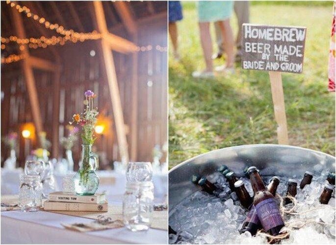 Las jarras se convertirán en un gran aliado decorativo para tu boda - Foto Kim thiel Photography
