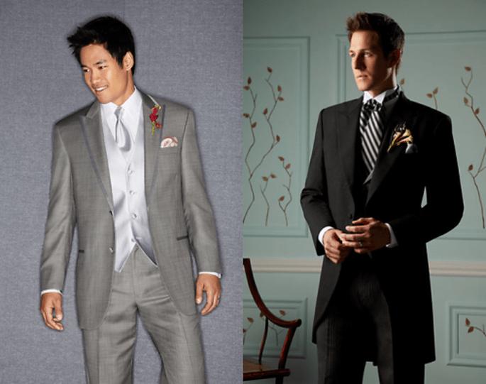 Esmoquin para novio con estilo romántico en color plata y negro - Foto Men's Wearhouse