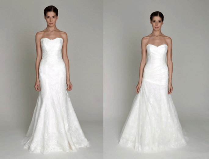 Vestidos de novia largos en color blanco con cortes simples y escote strapless - Foto Monique Lhuillier