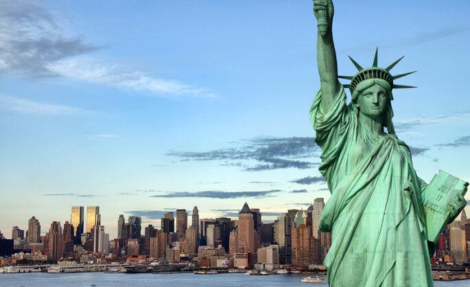 Estátua da Liberdade e vista de Nova Iorque