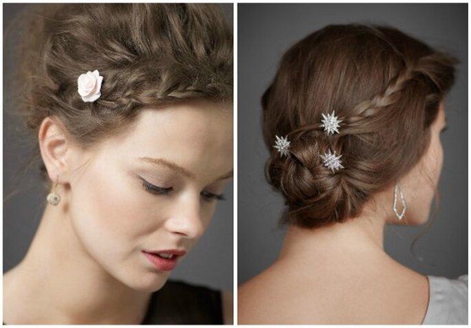 Dos propuesta de peinado con trenza para novias. Complementos: Flor xxx y horquilas Compass Rose. Foto: BHDLN