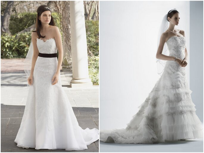 Left: Watters. Right: Oleg Cassini for David's Bridal.