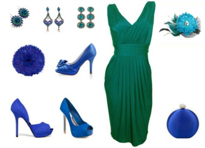Complementos para un vestido verde de fiesta