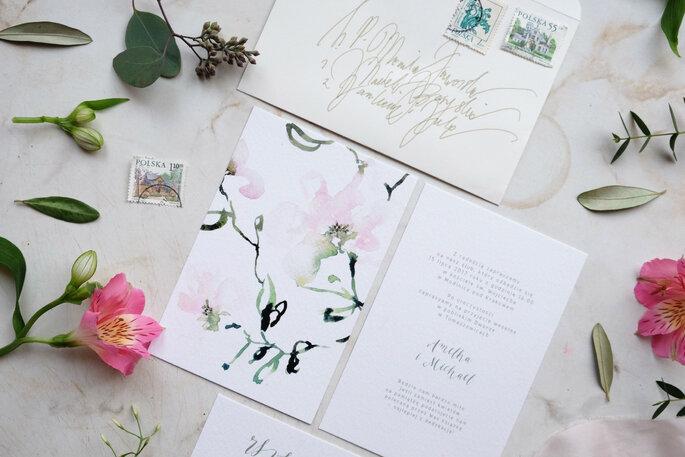 zaproszenie z kwiatami Love Prints
