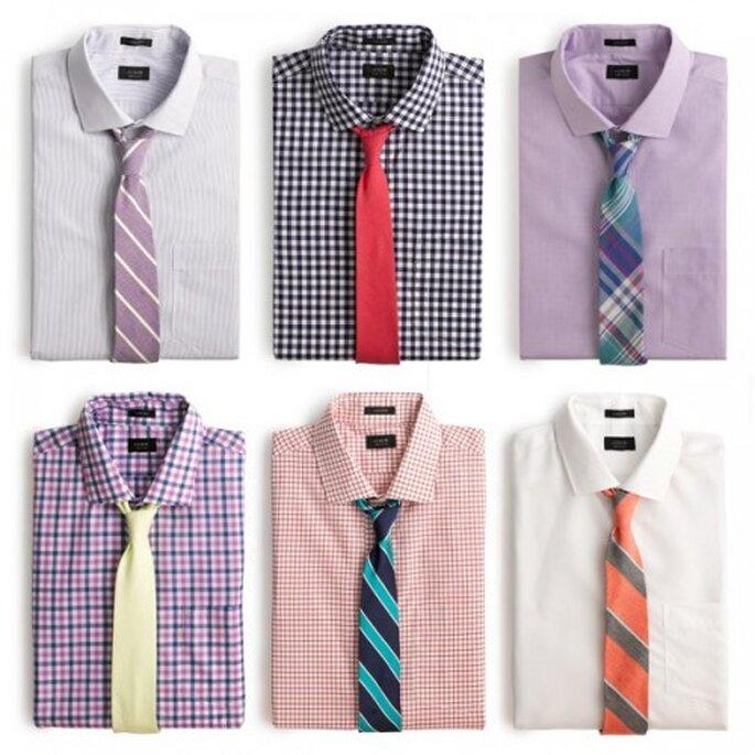 Combinación de camisas y corbatas para invitados hombres a una boda en el jardin - Foto GQ
