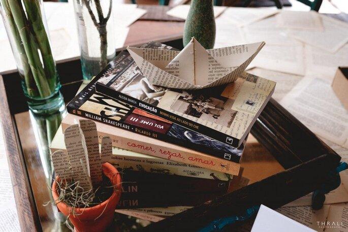 Decoração de casamento com livros
