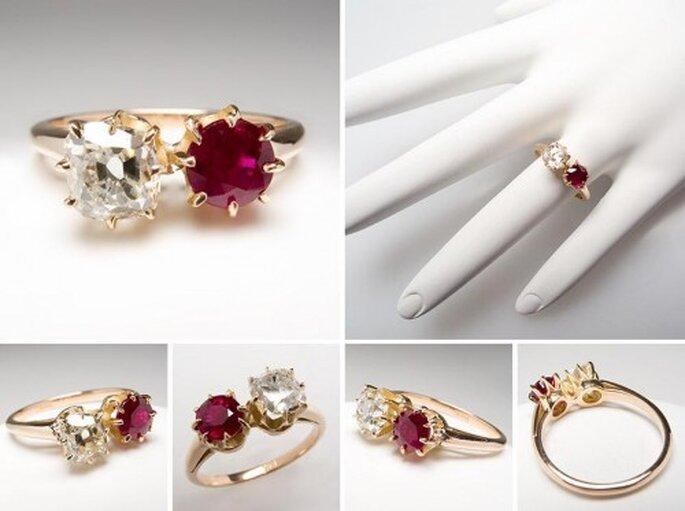 Anillo de compromiso con un rubi y diamante - Foto Eragem