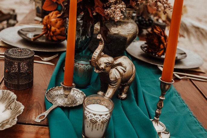 Tischdekoration Indischer Stil Petrol und Orange