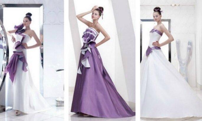 Tre abiti da sposa strutturati dove Elisabetta Polignano ha giocato con due dei colori più amati dalle spose il bianco e il glicine. Il risultato è superlativo!