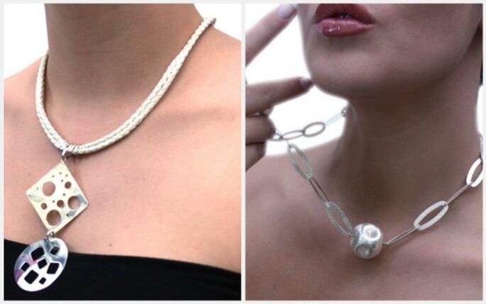 Collares en plata, elegantes y casuales a la vez. Diseño: Adriana Manrique