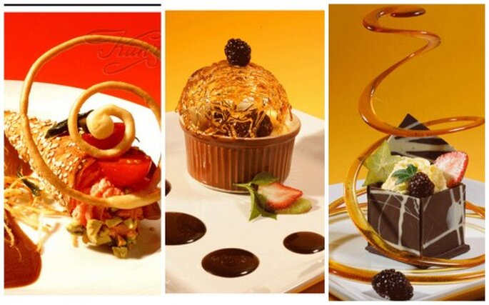 Banquetes y platillos de comida molecular. Imágenes Banquetes Kunz