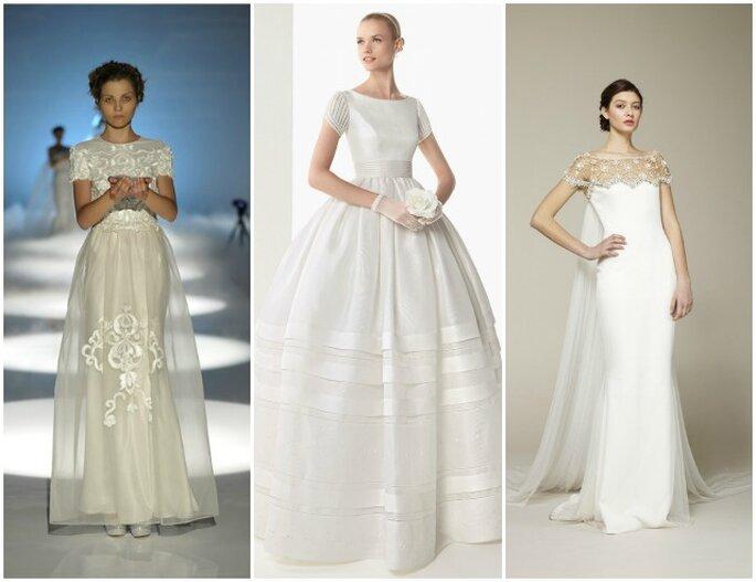 Una tendencia de 2013 son los vestidos de novia con manga corta - Fotos Rosa Clará, David Fielden y Marchesa