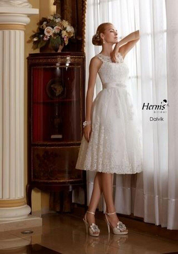krótka suknia ślubna z szyfonu