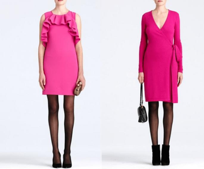vestidos cortos en color rosa para usarlos en una cena en San Valentín - Foto DVF