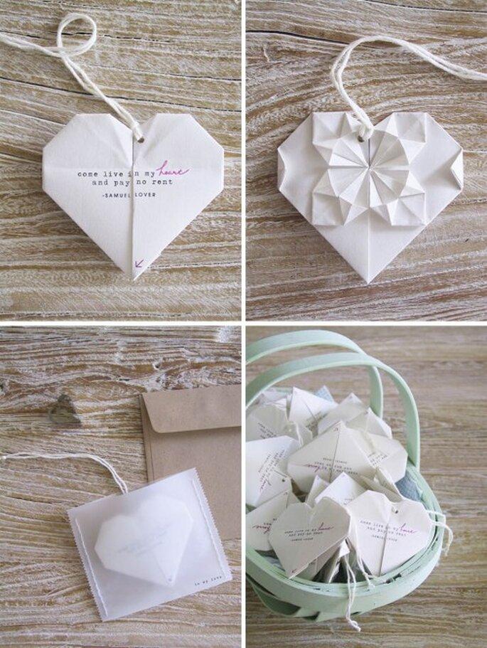 Invitaciones de boda en origami. Foto del blog de Victoria Gómez
