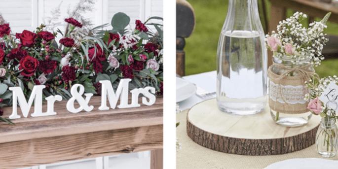 Lettres Mr. et Mrs. et Bûche en bois artificiel