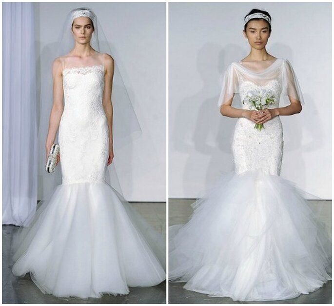 Due modelli di linea a sirena in pizzo con gonna in tulle.Marchesa Fall 2013 Bridal Collection. Foto: www.marchesa.com