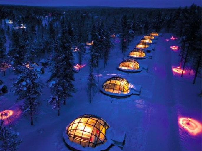 Iglús para la noche de bodas del Hotel Kakslauttanen Finlandia