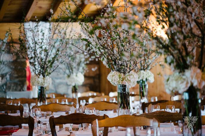 Salle de réception pour un mariage hivernal au charme montagnard