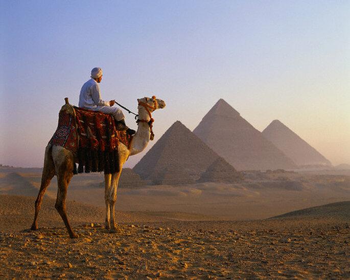 Las pirámides de Gizeh en Egipto...
