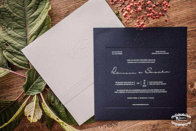 Convite para casamento contemporâneo
