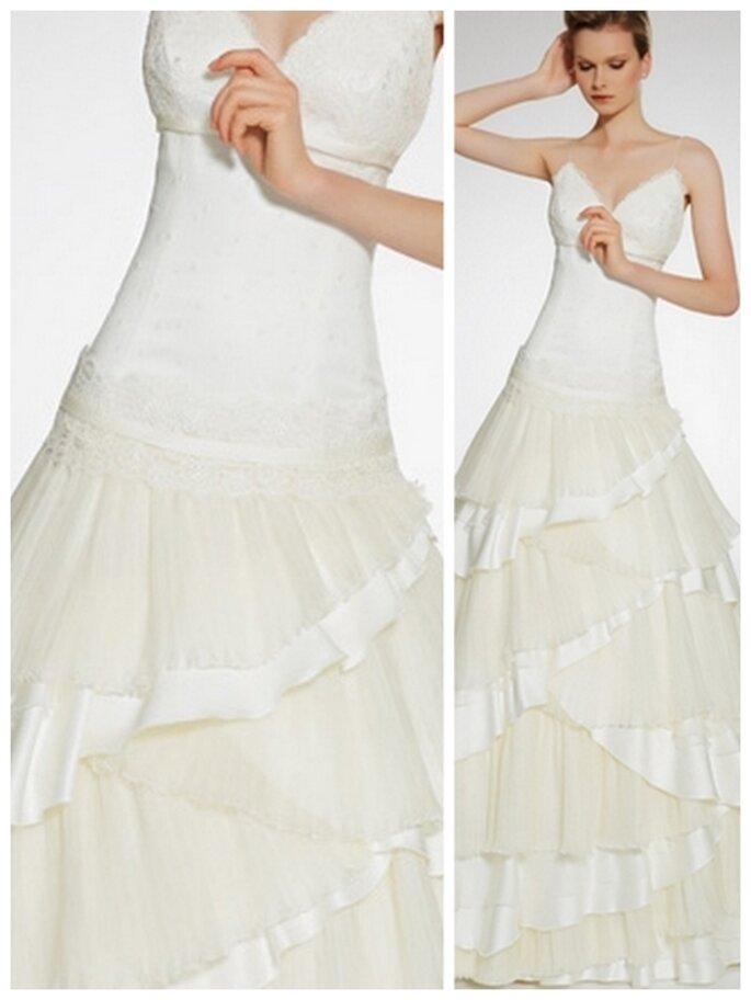 Vestido de novia escote en corazón, talle largo y corte de gala. Patricia Avedaño
