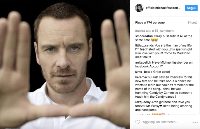Foto via Instagram @officialmichaelfassbender