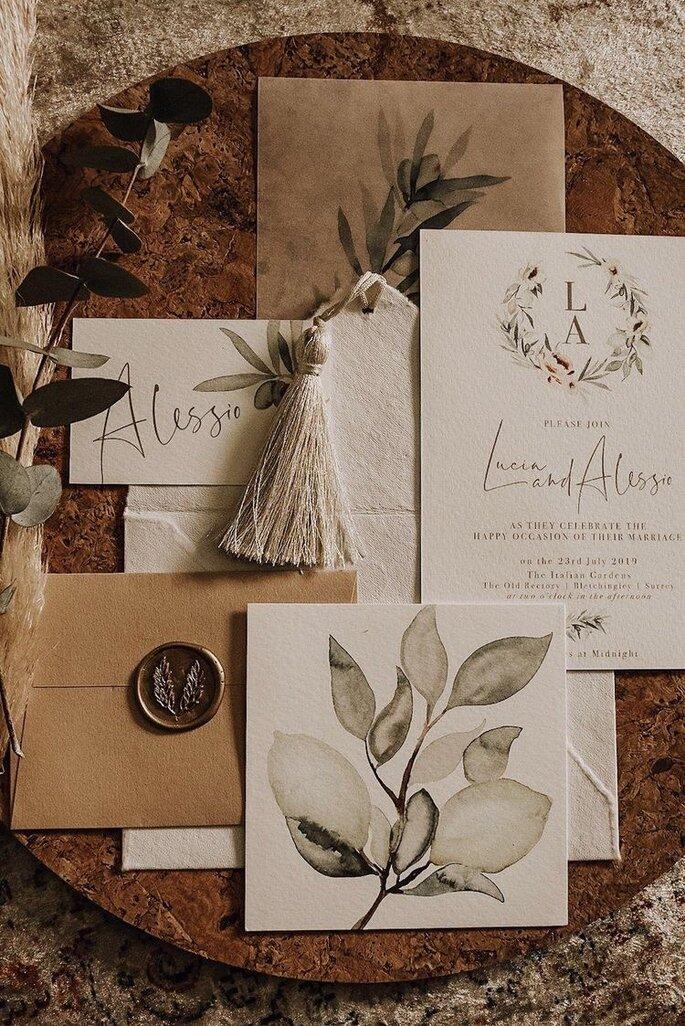 Hochzeitspapeterie mit Zitronen Motiv elegant und Bohemian