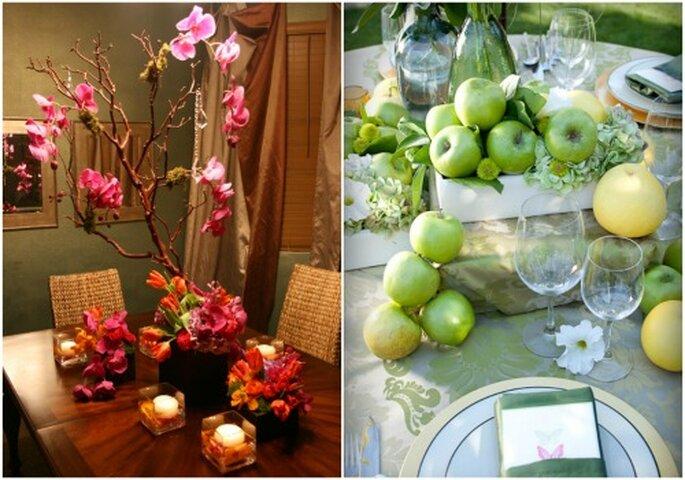 Hochzeitsdekoration in Grün und Pink