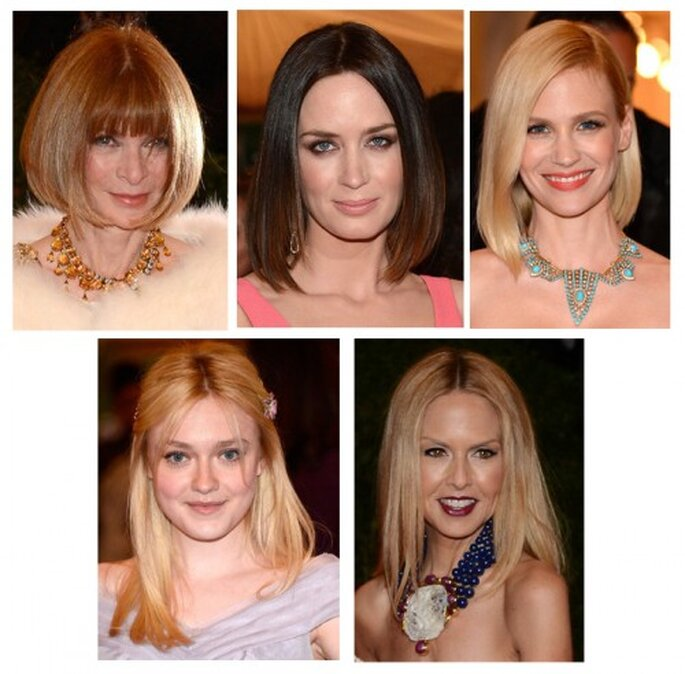 Anna Wintour, Emily Blunt, January Jones, Dakota Fanning y Rachel Zoe en la MET Gala 2012 - Foto Getty